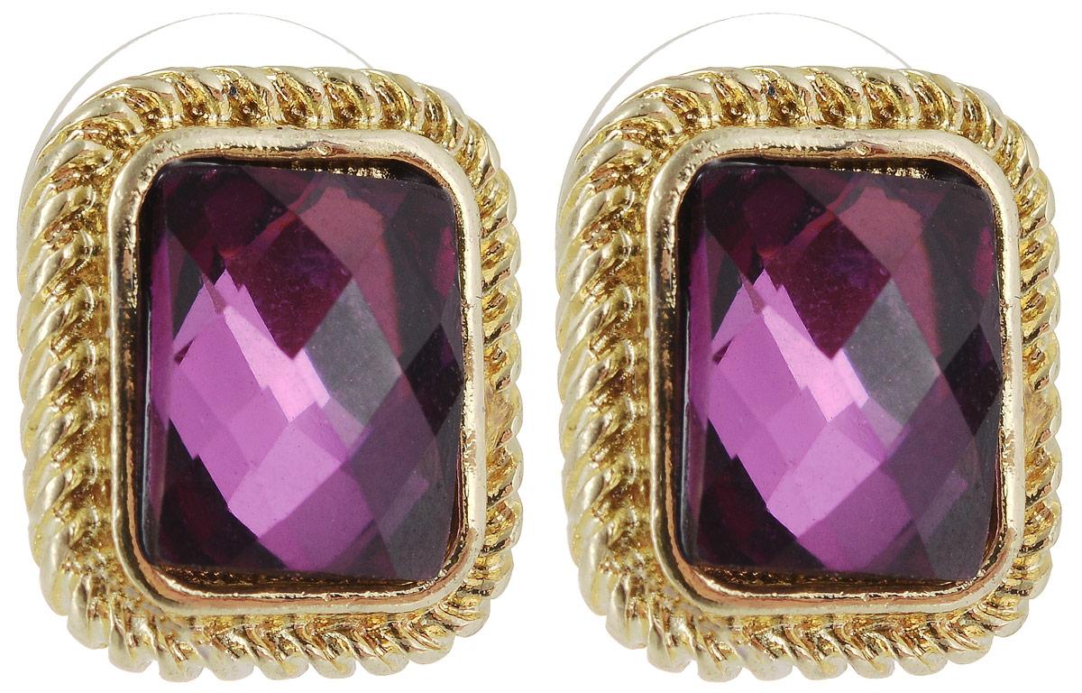 Серьги Taya, цвет: золотистый, аметист. T-B-5459T-B-5459-EARR-GL.AMETHYSTСерьги-гвоздики Taya застегиваются на заглушку из металла-пластика. В золотой рамке расположен чудесный фиолетовый кристалл мозаичной огранки. Серьги удобные, цвет нежный и интеллигентный.