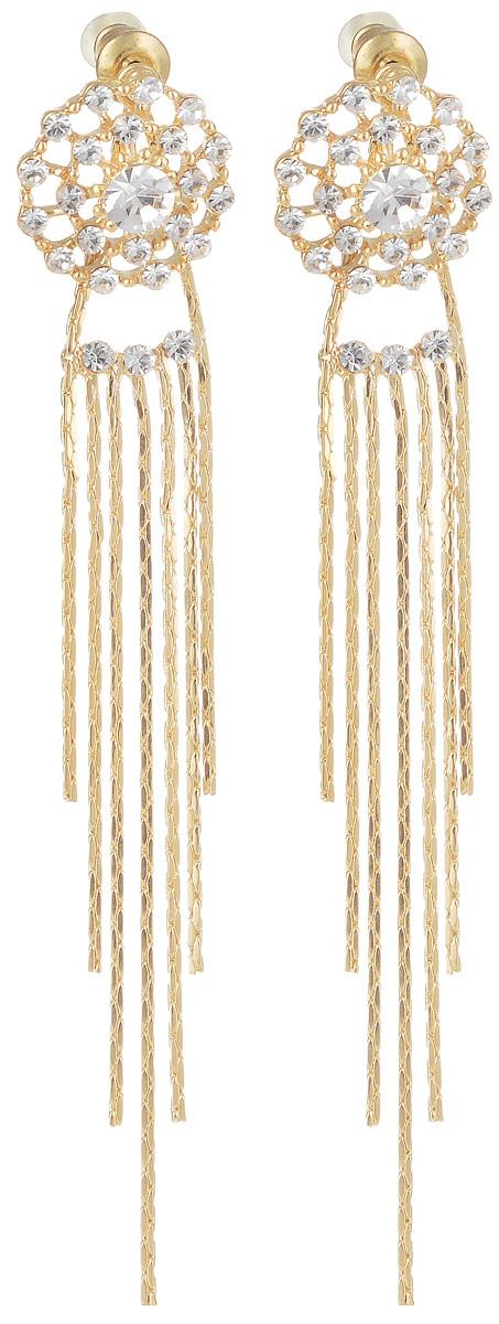 Серьги Taya, цвет: золотистый. T-B-7135T-B-7135-EARR-GOLDРоскошные серьги-гвоздики имеют прозрачные мягкие заглушки. Серьги с прозрачными цирконами выполнены в форме паутинки и дополнены длинными подвесками-цепочками. Такая модель выигрышно подчеркивает силуэт шеи. Серьги нежные и летящие, придутся по вкусу моднице любого возраста. Все камни вставлены вручную.