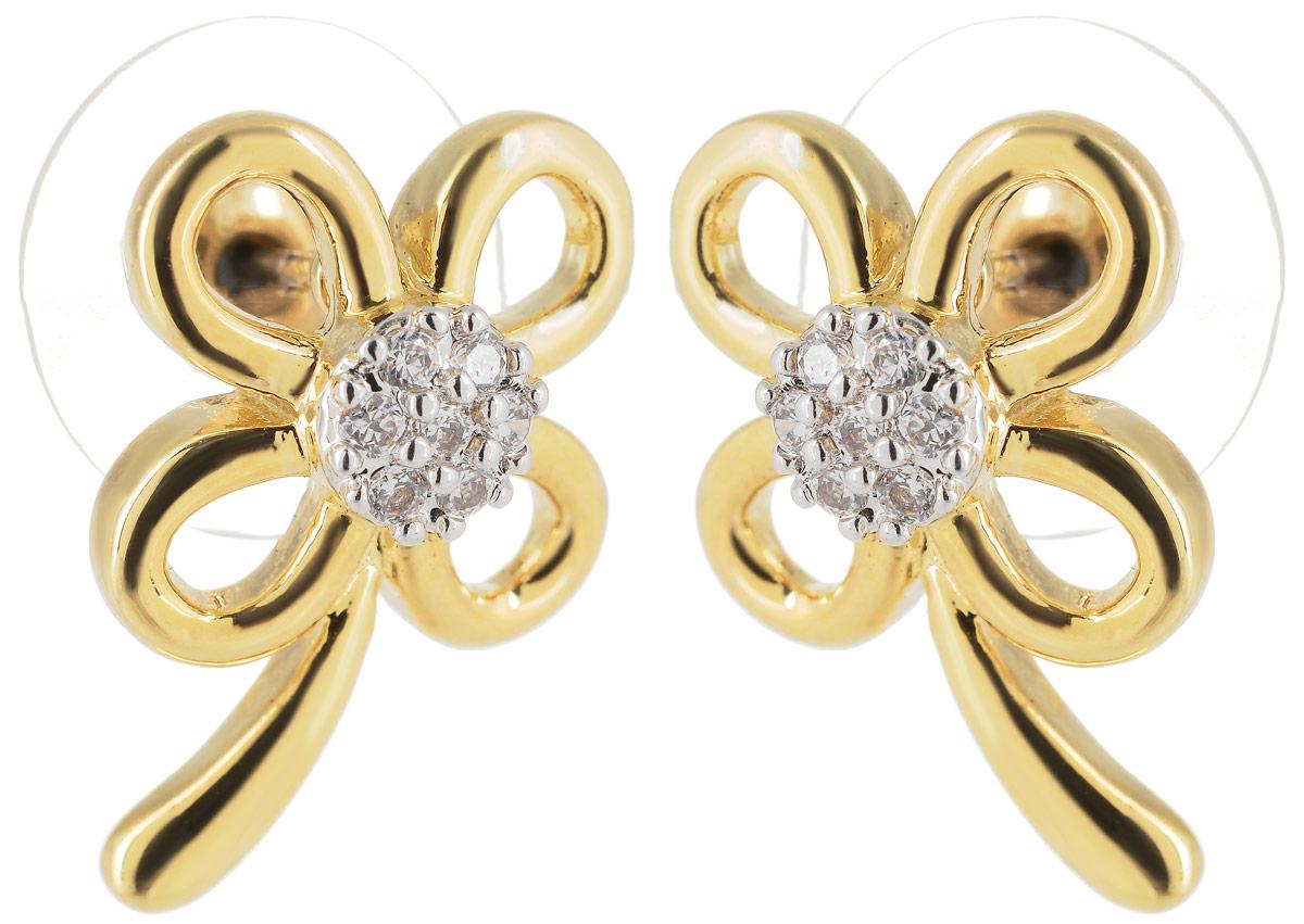 Серьги Taya, цвет: золотистый. T-B-4801T-B-4801-EARR-GOLDСерьги пусеты (замок гвоздик) в виде тонкого нежного цветка с прозрачным цирконом. Размер: 2,0 х 2,0 см.