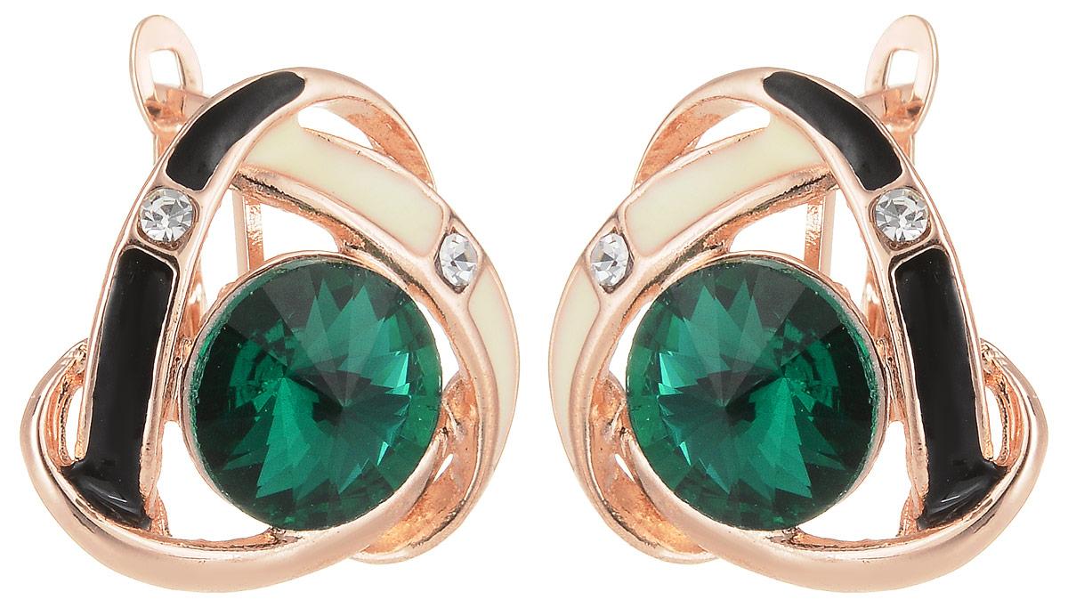 Серьги Taya, цвет: золотистый, зеленый. T-B-12744T-B-12744-EARR-GL.GREENСерьги Taya застегиваются на английский замок. Оформлена модель кристаллом под цвет как яблоко Гренни, он огранен на конус. Вокруг завитки, покрытые черной и белой эмалью.