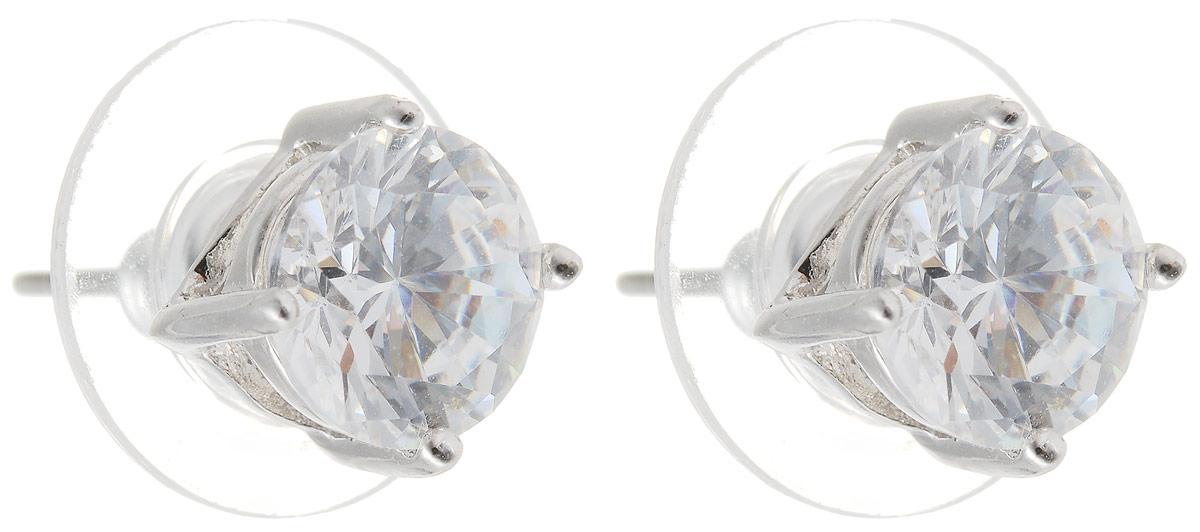 Серьги Taya, цвет: серебристый. T-B-4864T-B-4864-EARR-RHODIUMСерьги-пуссеты Taya с застежкой-гвоздик дополнены сзади пластиковыми заглушками и оформлены сверкающими прозрачными цирконами. Элегантные серьги выполнены в очень стильной и утонченной форме.