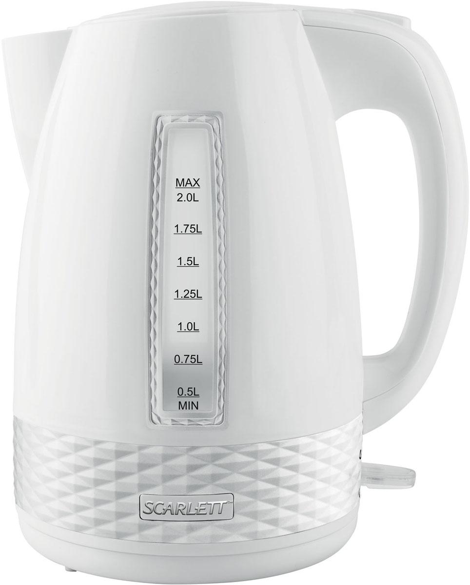 Scarlett SC-EK18P35, White электрический чайникSC-EK18P35Электрический чайник Scarlett SC-EK18P35 станет отличным дополнением к набору вашей мелкой бытовой техники для кухни. Среди явных преимуществ можно отметить безопасность использования и значительную экономию времени; вода в таких чайниках закипает за считанные минуты. Чайник выполнен из высокопрочного пластика и снабжен кнопкой для открывания крышки, скрытым нагревательным элементом и индикатором уровня воды. В приборе предусмотрена многоуровневая система защиты: чайник автоматически отключается при закипании и при недостаточном количестве воды в резервуаре. Набирать воду в чайник можно как через крышку, так и через носик.