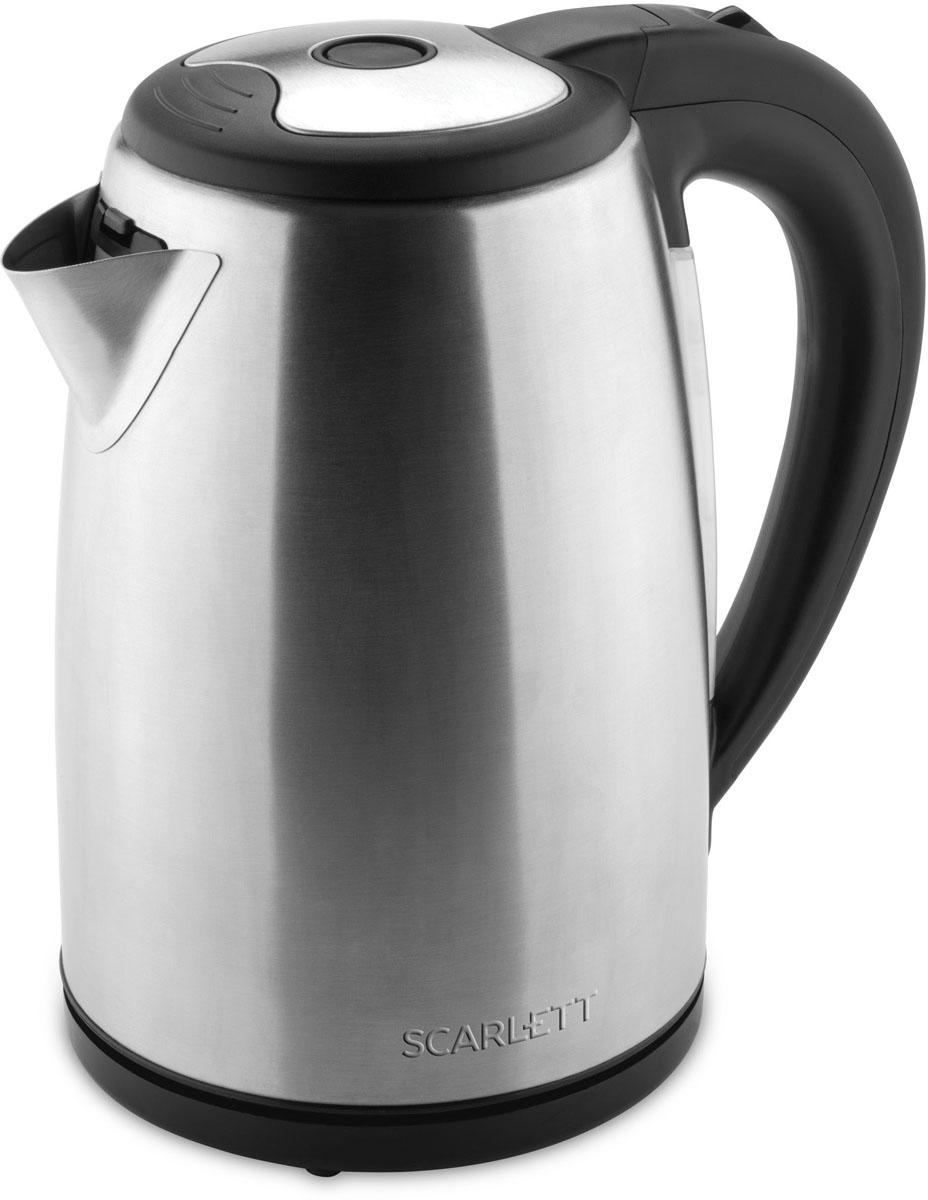 Scarlett SC-EK21S44, Stainless Steel электрический чайникSC-EK21S44Электрический чайник Scarlett SC-EK21S44 кипятит воду быстро, чтобы сэкономить ваше время. Удобная ненагревающаяся ручка дает возможность крепко удерживать наполненный чайник, сверху на ней расположена кнопка включения. Воду можно налить, подняв крышку за ручку, имеющуюся на ней, либо через носик, не открывая чайник. О том, что прибор включен, свидетельствует световая сигнализация на корпусе. Нагрев воды производит скрытая спираль, поэтому очистить чайник от накипи легко и удобно. Когда вода закипит, чайник автоматически отключается, индикация гаснет. Система безопасности прибора не допустит включения пустого чайника или с недостаточным количеством воды. Носик чайника оборудован съемным фильтром, исключающим попадание накипи в чашку, его можно промывать под проточной водой. На круглой нагревательной базе можно расположить чайник, как вам удобно, поворачивая на 360°, а сама подставка не нагревается и предохраняет стол от повреждения.