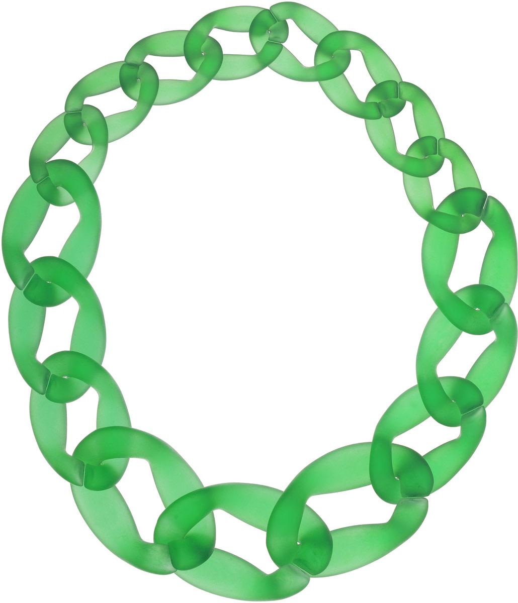 Колье Taya, цвет: зеленый. T-B-12030T-B-12030-NECK-GREENСупермодное украшение изготовлено из ювелирной смолы. Модель представляет собой сочетание колец различной формы. Кольца легко рассоединяются между собой. Каждое звено можно снять. Звенья крупнее к центру.