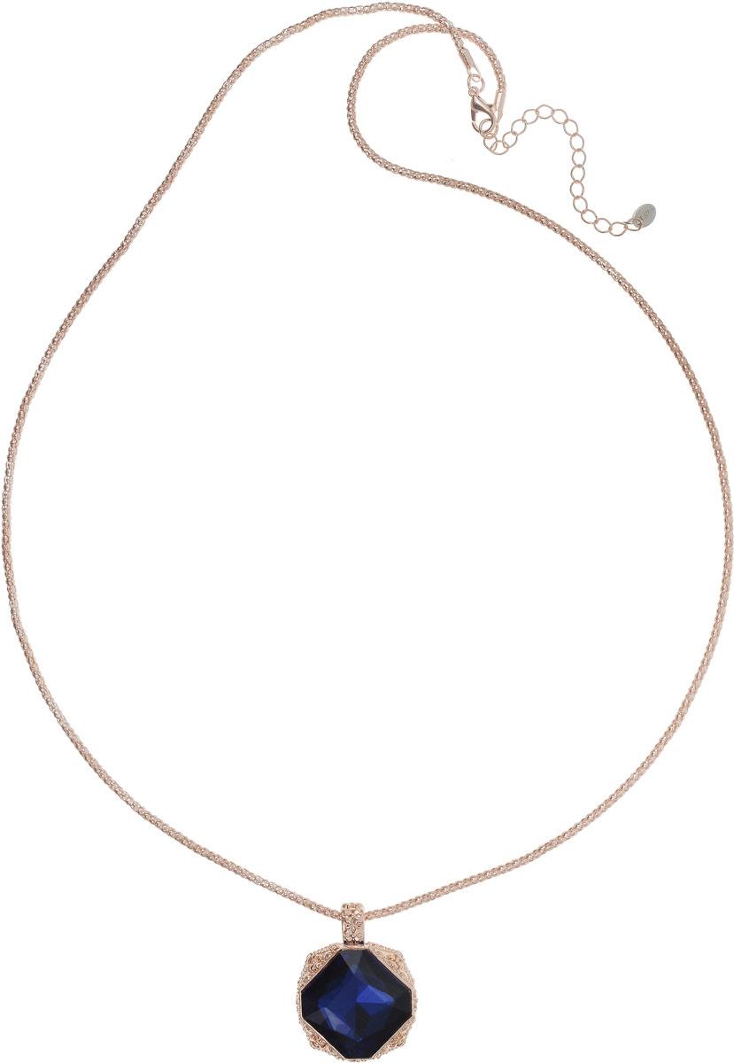 Колье Taya, цвет: золотистый, темно-синий. T-B-12685T-B-12685-NECK-GL.D.BLUEЛаконичный кулон на длинной цепи дополнен удлиняющей цепочкой с замочком-карабином. Сапфирового цвета кристалл расположен в объемной резной богатой рамке.