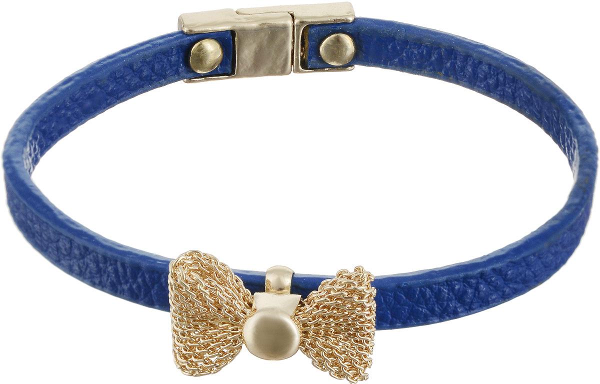 Браслет Taya, цвет: золотистый, синий. T-B-5392T-B-5392-BRAC-GL.BLUEЯркий, но очень изящный кожаный браслет с нежным бантиком из золотой сеточки. Браслет застегивается на очень удобную магнитную застежку.