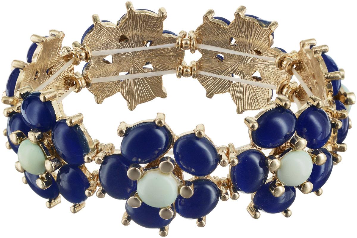 Браслет Taya, цвет: золотистый, синий. T-B-6186T-B-6186-BRAC-GL.BLUEОтличный универсальный браслет Taya выполнен на резинке. Синие цветки с белой сердцевиной закреплены между собой на плотной бижутерной резинке. Каждый из камушков держится с помощью специальных креплений-ножек.