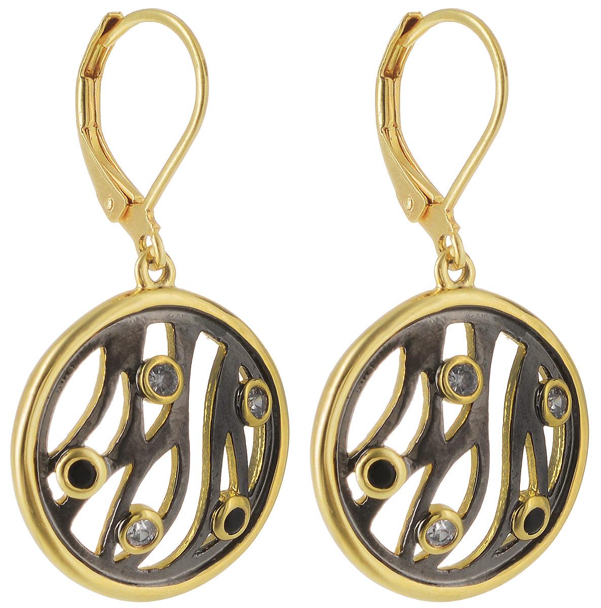 Серьги Taya, цвет: золотистый, черный. T-B-4981T-B-4981-EARR-GL.BLACKЭлегантные серьги с замком скобой. Оформлены сережки круглыми пластинами с вкраплениями из страз.