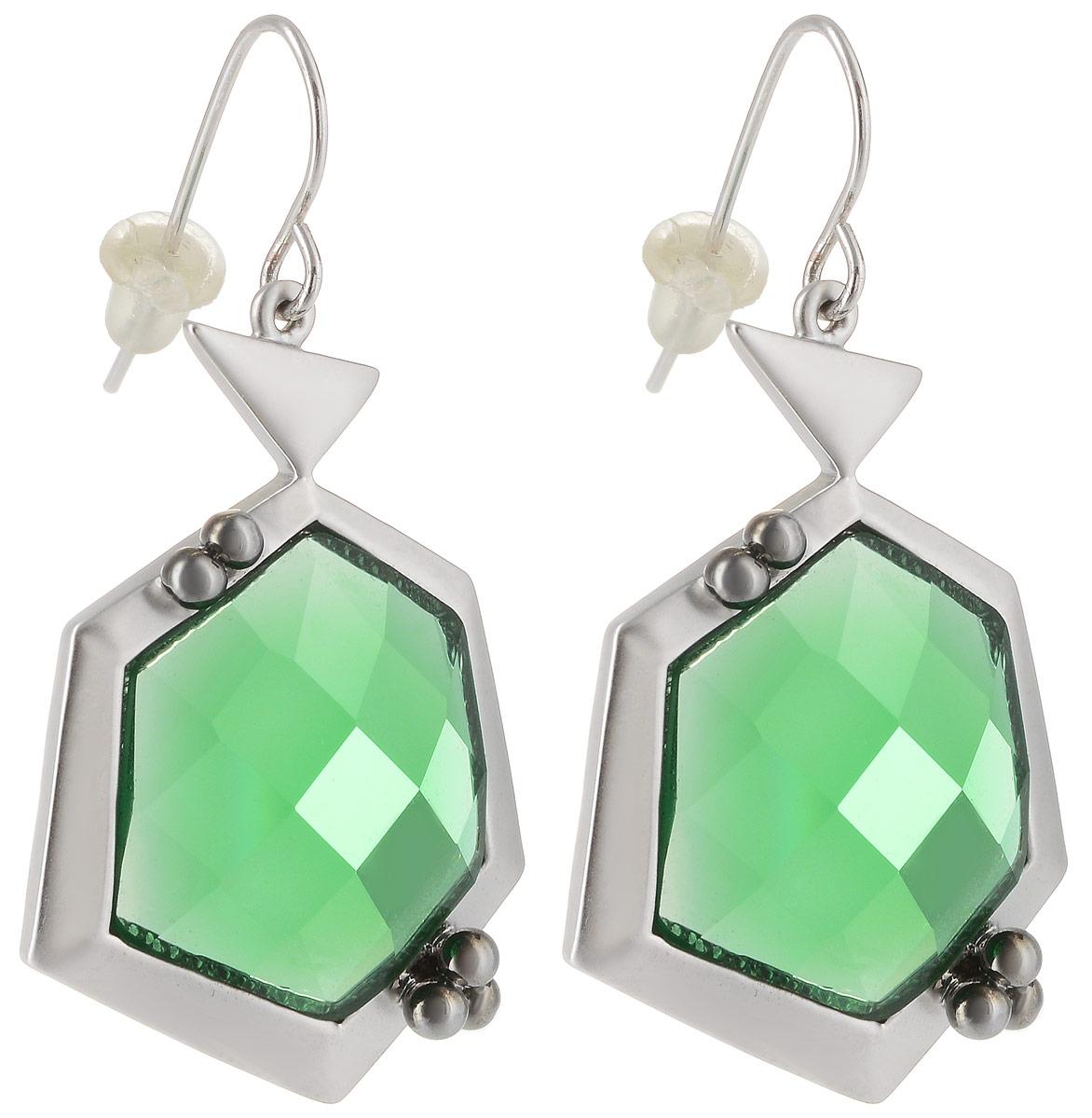 Серьги Taya, цвет: серебристый, зеленый. T-B-4978T-B-4978-EARR-RH.MATTEСерьги с петлевидным замком Taya, имеющим вид душки, дополнены сзади мягкой заглушкой. Оформлена модель сверкающим камнем в центре изделия. Элегантные серьги выполнены в очень стильной и утонченной форме.