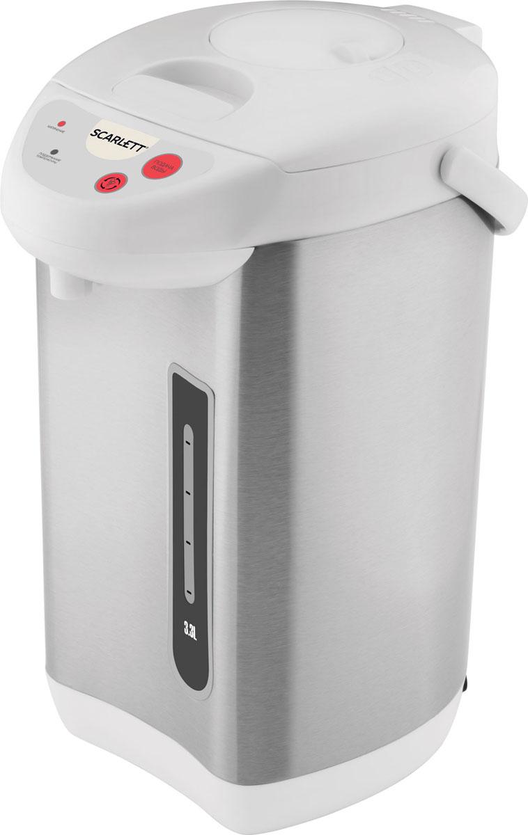 Scarlett SC-ET10D03, Steel White термопотSC-ET10D03Термопот Scarlett SC-ET10D03 - это современное и мощное устройство для быстрого нагрева воды. Модель рассчитана на объём до 3,3 л, есть функция поддержания температуры воды. Модель может поддерживать температуру воды равной 95 градусов Цельсия. В термопоте установлен электромеханический тип насоса, есть блокировка подачи воды. Индикатор уровня жидкости подскажет, сколько воды осталось в устройстве. Scarlett SC-ET10D03 имеет сравнительно невысокую потребляемую мощность - всего 730 Вт, что делает её экономной. Устройство и колба для воды изготовлены из нержавеющей стали, что гарантирует их длительный срок службы. Три способа подачи воды: механический, автоматический, прямой Механическая блокировка разлива воды Режим повторного кипячения Удобная панель управления Возможность вращения на 360° Удобная ручка для переноски Съемная крышка Дехлорирование воды повторным кипячением