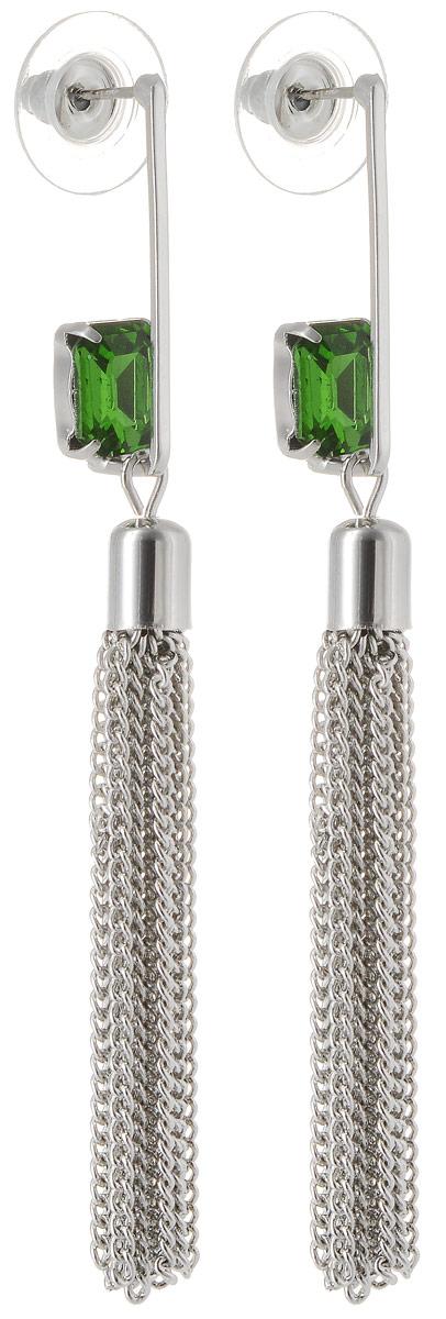 Серьги Taya, цвет: серебристый, светло-зеленый. T-B-12479T-B-12479-EARR-SL.LT.GREENСерьги-гвоздики дополнены заглушкой из металла-пластика. За серебряной скобой прячется изумительный голубой кристалл. Подвески-цепочки мягко и волнующе струятся.