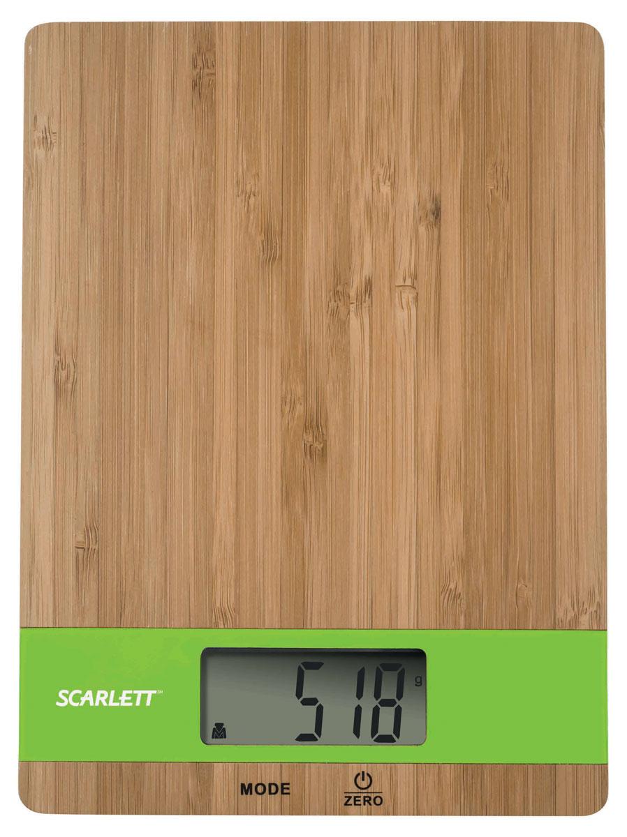 Scarlett SC-KS57P01, Bamboo Green весы кухонныеSC-KS57P01_GВесы кухонные, электронные, 5 кг, бамбук, измерение объема жидкости