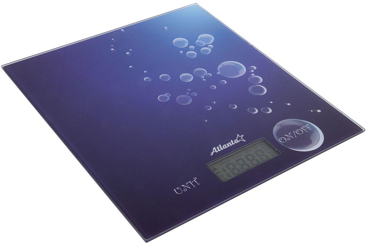 Atlanta ATH-6207, Blue весы кухонныеATH-6207 blueЯркий ЖКИ дисплей нового поколения 59x28мм Тонкий корпус из нержавеющей стали Высокая точность взвешивания 1 г. Функция обнуления веса Функция сложный рецепт Авто отключение Предел взвешивания 5 кг Индикатор слабых батареек Индикатор перегрузки Работает от 2Х3V батареек тип CR2032.