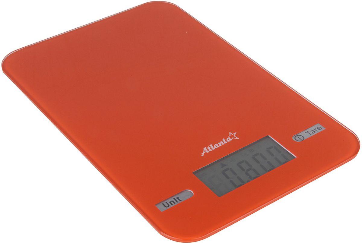 Atlanta ATH-6212, Orange весы кухонныеATH-6212 orangeЯркий ЖКИ дисплей нового поколения 58,6 x 28 мм Сенсорные кнопки Высокая точность взвешивания 1 г Функция обнуления веса Авто отключение Предел взвешивания 5 кг Переключение режимов: g/lb/oz/kg Индикатор слабых батареек Индикатор перегрузки Работает от 2 х 1,5 В батареек тип ААА
