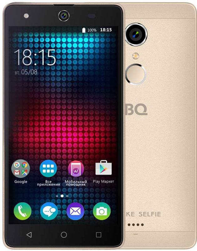 BQ 5050 Strike Selfie, Gold46611276Главная особенность BQ 5050 Strike Selfie - 13-мегапиксельная фронтальная камера со вспышкой и автофокусом, предназначенная для создания умопомрачительного качества селфи-фотографий, что, несомненно, порадует всех любителей селфи. Кроме этого смартфон работает на базе современной операционной системы Android 6.0. Благодаря работе этой версии ОС смартфон BQS-5050 Strike Selfie справляется с мультизадачными приложениями намного быстрее своих конкурентов. Устройство оснащено современным четырехъядерным процессором MediaTek MT6580. Он без труда справится с самыми сложными задачами, легко откроет тяжелые игры и ресурсоёмкие приложения. Общение в социальных сетях и мессенджерах, серфинг любимых развлекательных сайтов с BS 5050 Strike Selfie будет только в радость. Оперативная память составляет 1 ГБ, встроенная память для хранения любимых фильмов, формата HD, игр, книг и фотографий – 8 ГБ. Кроме этого память устройства можно расширить до 64 ГБ с...