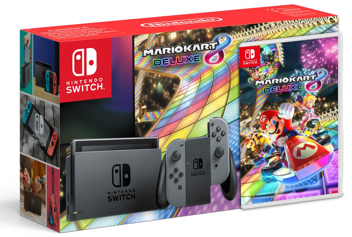 Nintendo Switch, Grey игровая приставка + Mario Kart 8 DeluxeConSWT4Nintendo Switch – инновационная игровая консоль-гибрид. Ее не только можно подключить к телевизору, она также мгновенно превращается в портативную игровую систему с экраном 6,2 дюйма. Впервые игроки смогут наслаждаться масштабными игровыми проектами, типичными для домашних консолей, где угодно и когда угодно. Игровая консоль поддерживает amiibo и многопользовательскую локальную/онлайн игру на 8 человек. Mario Kart 8 Deluxe – самые масштабные гонки, в которые можно играть где угодно, когда угодно и с кем угодно. Устраивайте соревнования с семьей на большом экране в гостиной, играйте в парке или же возьмите консоль к другу. Вам доступны рекордные 48 гоночных трасс, новые гонщики и новые предметы, а также переработанный режим «бой». Перед вами – самая масштабная игра серии Mario Kart в истории! Комплект поставки включает саму консоль, правый и левый контроллеры Joy-Con серого цвета, игру Mario Kart 8 Deluxe на игровой карте, держатель Joy-Con (к которому присоединяются оба Joy-Con для...
