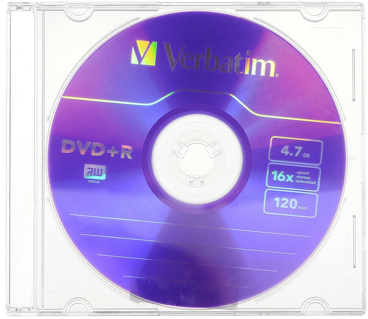 Verbatim DVD+R 4.7Gb 16x, 1 шт43556В дисках Verbatim используется технология MKM/Verbatim, обеспечивающая непревзойденное качество записи. Тесное сотрудничество отдела исследований и разработок компании Mitsubishi Chemical с производителями дисководов обеспечивает широкую совместимость дисков Verbatim, что делает их идеальными носителями для передачи компьютерных данных, домашних видеофильмов, фотографий и музыки. Уважаемые клиенты! Обращаем ваше внимание на цветовой ассортимент товара. Поставка осуществляется в зависимости от наличия на складе.
