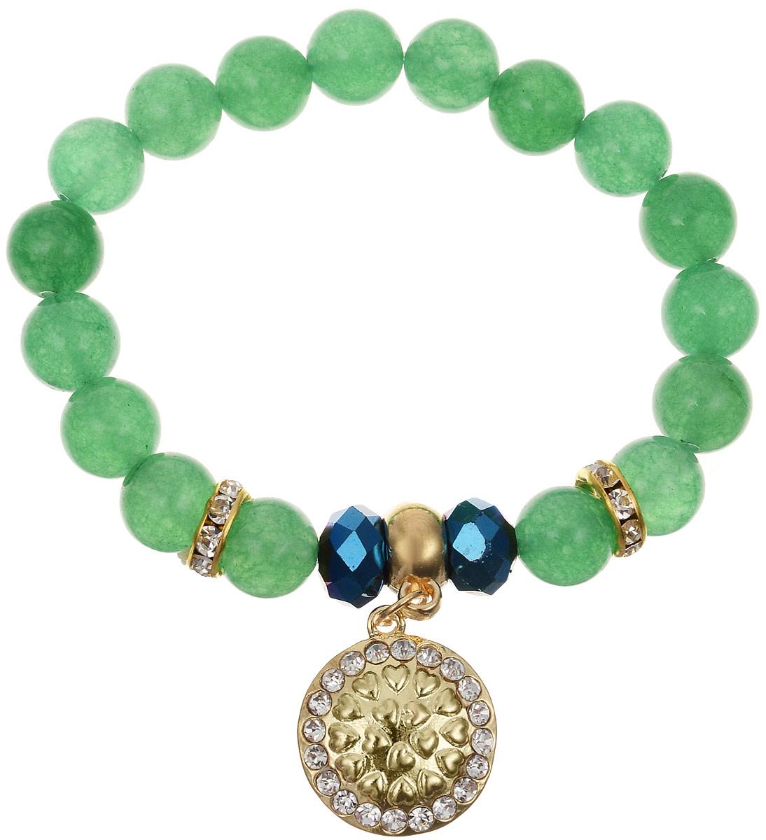 Браслет Bradex Зеленый кварц, цвет: зеленый. AS 0094AS 0094Простой и очень элегантный браслет Зеленый кварц станет изящной финальной нотой, которая дополнит ваш юный и свежий образ. Ряд ровных бусин травяного цвета идеально круглой формы делают стиль украшения сдержанным и элегантным. Аккуратные вставки с золотым покрытием и красочный радужный декор в центре привлекают внимание и дарят праздничное настроение. Сияющая золотым блеском подвеска с кристаллами придает образу чистоту и женственность.