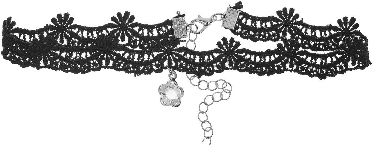 Чокер Bradex Элен, цвет: черный. AS 0082AS 0082Bradex Чокер Элен - ненавязчивое украшение в классическом стиле, выполненное в виде черного кружева с ажурным плетением, плотно обхватывающим шею. По центру расположен прозрачный кристалл-подвеска. Застегивается и регулируется по длине при помощи карабина.