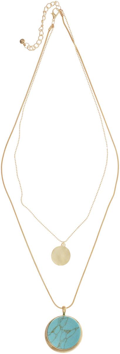 Колье Bradex Медальон, цвет: голубой. AS 0098AS 0098Двойное колье Bradex Медальон выполнено из цинкового сплава с камедью. Модель декорирована вставкой из бирюзы. Насыщенный голубой цвет делает украшение ярким и заметным. Тонкая цепочка обеспечивает легкость и комфорт, застегивается на карабин и регулируется по длине.