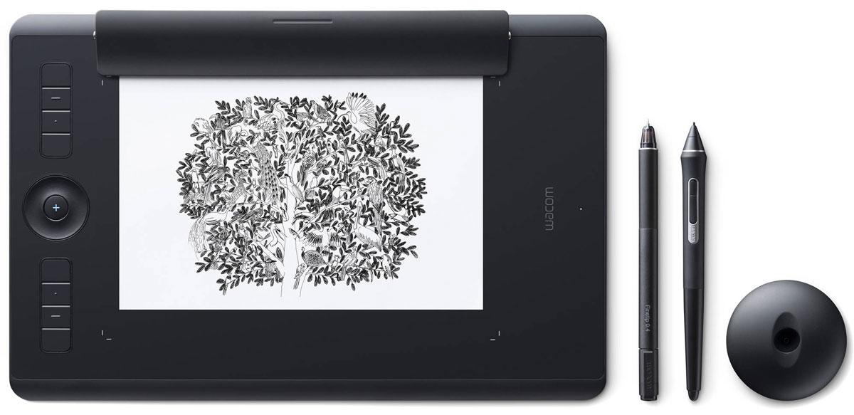 Wacom Intuos Pro Medium Paper графический планшет (PTH-660P-R)4949268620604Wacom Intuos Pro Medium Paper - это сочетание современных технологий и рисования на выбранной вами бумаге. Это новый, но и такой знакомый способ работы. Пока вы будете наслаждаться рисованием ручкой Finetip Pen по бумаге, планшет Wacom Intuos Pro Medium Paper запомнит каждый ваш штрих, чтобы в дальнейшем вы могли его доработать в любимой программе. Или сразу подключите Wacom Intuos Pro Medium Paper к компьютеру и работайте новейшим цифровым пером Wacom Pro Pen 2 в графическом приложении. Корпус Wacom Intuos Pro Medium Paper сделан из высококачественных первоклассных материалов: черного анодированного алюминия и стекловолокнистого композитного пластика. Несмотря на толщину всего 8 мм, планшет на ощупь надежный и прочный. В комплект Wacom Intuos Pro Medium Paper включена подставка для пера со стальным основанием, предназначенная для хранения запасных наконечников. А еще в нее встроен удобный инструмент для замены наконечников. ...
