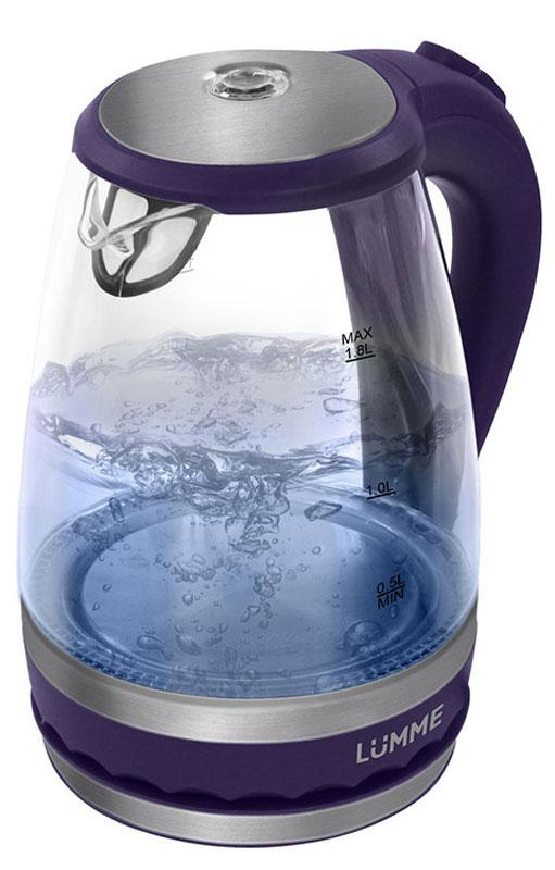 Lumme LU-220, Dark Purple электрический чайникLU-220Легкий ударопрочный стеклянный чайник Lumme LU-220 с голубой внутренней подсветкой в элегантном прозрачном корпусе из закаленного термостойкого стекла объемом 1.8 литра. Стекло сохраняет природный вкус и все натуральные свойства воды, а внутренний фильтр, закрывающий носик, служит для дополнительной фильтрации воды. Для скорейшего закипания чайник имеет повышенную до 2200 Вт мощность нагревательного элемента, закрытого плоским стальным дном для противостояния накипи, коррозии и удобства в уходе. Система автоматического отключения чайника при закипании или недостаточном количестве воды защитит чайник от преждевременного выхода из строя. Возможность ставить чайник на базу с любой стороны и вращать на 360 градусов, поворачивая ручкой к себе, исключает риск случайных ожогов и обеспечивает полный комфорт эксплуатации. Благодаря внутренней светодиодной голубой подсветке чайник особенно хорошо смотрится в работе и дарит ...