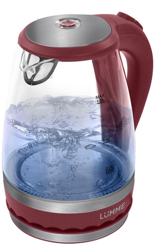 Lumme LU-220, Pomegranate электрический чайникLU-220Легкий ударопрочный стеклянный чайник Lumme LU-220 с голубой внутренней подсветкой в элегантном прозрачном корпусе из закаленного термостойкого стекла объемом 1,8 литра. Стекло сохраняет природный вкус и все натуральные свойства воды, а внутренний фильтр, закрывающий носик, служит для дополнительной фильтрации воды. Для скорейшего закипания чайник имеет повышенную до 2200 Вт мощность нагревательного элемента, закрытого плоским стальным дном для противостояния накипи, коррозии и удобства в уходе. Система автоматического отключения чайника при закипании или недостаточном количестве воды защитит чайник от преждевременного выхода из строя. Возможность ставить чайник на базу с любой стороны и вращать на 360 градусов, поворачивая ручкой к себе, исключает риск случайных ожогов и обеспечивает полный комфорт эксплуатации. Благодаря внутренней светодиодной голубой подсветке чайник особенно хорошо смотрится в работе и дарит ...