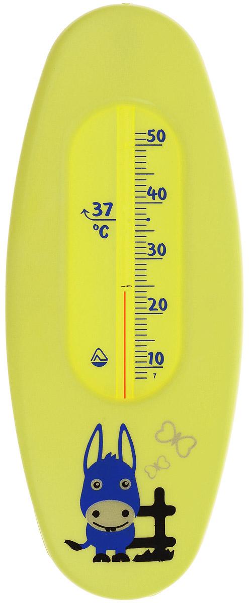 Термометр водный Стеклоприбор Ослик. В-1300146_желтый, осликВодный термометр Стеклоприбор используется для измерения температуры воды, чаще всего при купании детей. Корпус термометра выполнен из пластика и имеет овальную форму, а колба изготовлена из ударопрочного стекла. Модель имеет наглядную шкалу с ценой деления в 1°С и широкий диапазон температур - от +10 до +50°С. На термометре есть отметка 37°С - оптимальная температура купания ребенка. Яркий и интересный, такой термометр для воды будет не просто измерительным прибором, но и безопасной игрушкой во время купания для ваших детей. Не содержит ртути.