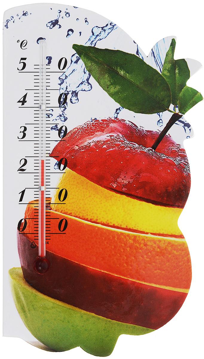 Термометр комнатный Стеклоприбор Сувенир. Фрукты, на магните. 300074300074_яблоко, апельсинЖидкостный термометр Стеклоприбор Сувенир. Фрукты выполнен в декоративном корпусе из картона. С помощью магнитного крепления такой термометр можно повесить на холодильник. Термометр имеет шкалы измерения температуры по Цельсию (от -2°С до +52°С). Благодаря такому термометру вы всегда будете точно знать, насколько тепло в помещении. Жидкостный термометр Стеклоприбор Сувенир. Фрукты отлично впишется в интерьер вашей кухни, а также станет отличным сувенирным подарком для ваших родных и близких. Размеры термометра: 14,5 х 8 см.