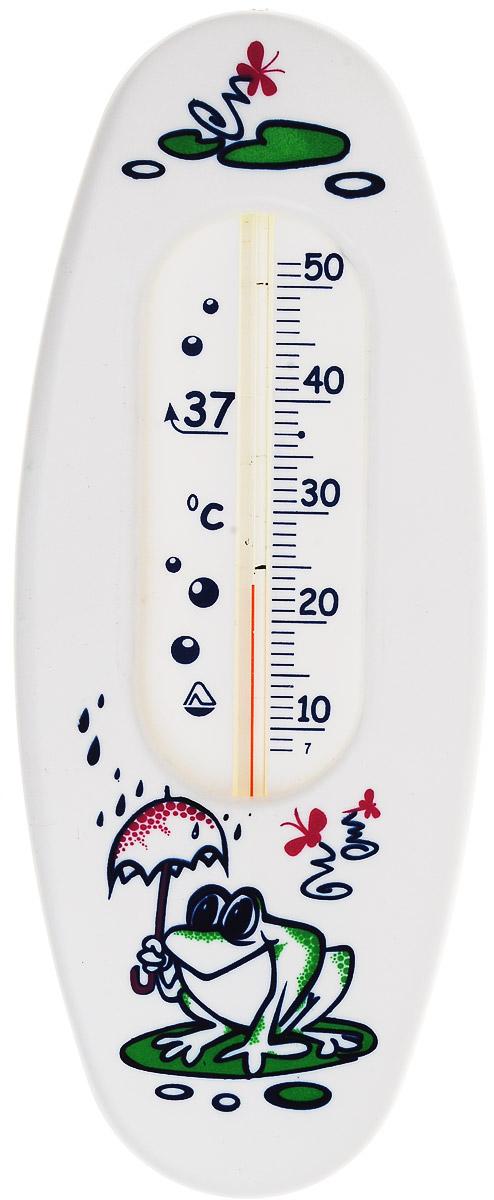 Термометр водный Стеклоприбор Лягушка. В-1300146_белый, лягушкаВодный термометр Стеклоприбор используется для измерения температуры воды, чаще всего при купании детей. Корпус термометра выполнен из пластика и имеет овальную форму, а колба изготовлена из ударопрочного стекла. Модель имеет наглядную шкалу с ценой деления в 1°С и широкий диапазон температур - от +10 до +50°С. На термометре есть отметка 37°С - оптимальная температура купания ребенка. Яркий и интересный, такой термометр для воды будет не просто измерительным прибором, но и безопасной игрушкой во время купания для ваших детей. Не содержит ртути.