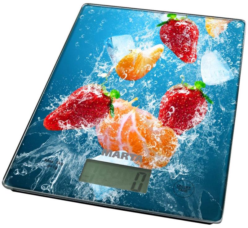 Marta MT-1634 Коктейль кухонные весыMT-1634Яркие кухонные весы Marta MT-1634 с красивой и прочной поверхностью из закаленного стекла, большим жидкокристаллическим дисплеем и функцией Тара. Весы обеспечивают надежное взвешивание продуктов массой до 5 килограммов с точностью до 1 грамма и способны работать в различных единицах измерения (граммы, килограммы, унции, фунты, миллилитры). Функция Тара позволяет не учитывать массу посуды при взвешивании продуктов, а индикаторы перегрузки и замены батареи сделают работу весов бесперебойной в течение длительного времени. Для экономии заряда литиевой батарейки (входящей в комплект поставки) весы отключаются автоматически, если не используются. Кухонные весы – отличный помощник для тех, кто любит готовить точно по рецептам.
