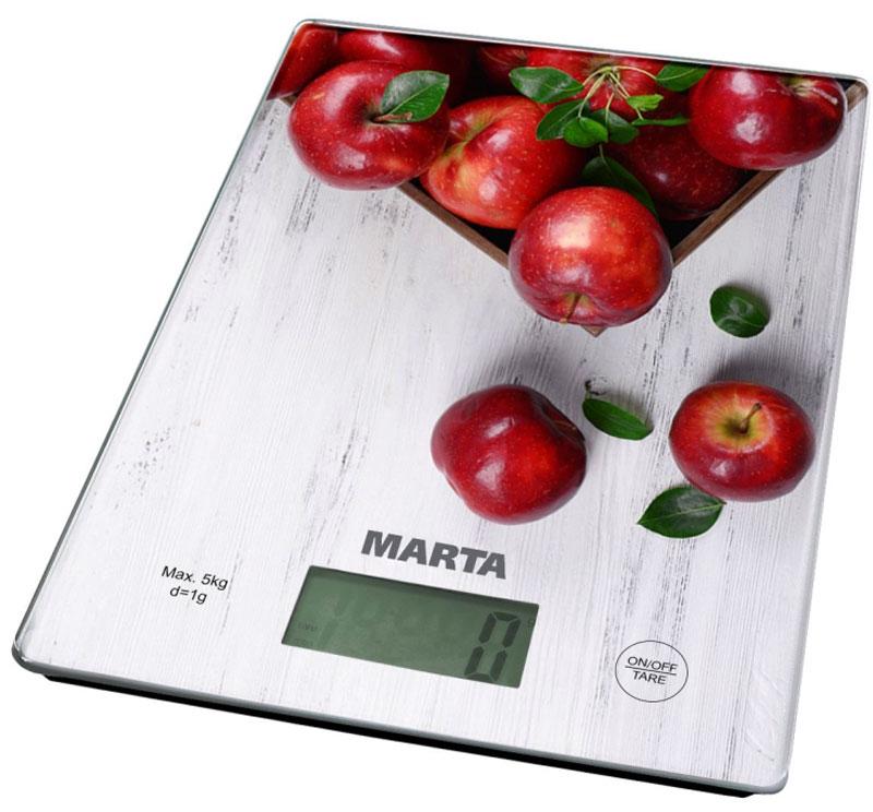 Marta MT-1634 Яблоневый сад кухонные весыMT-1634Яркие кухонные весы Marta MT-1634 с красивой и прочной поверхностью из закаленного стекла, большим жидкокристаллическим дисплеем и функцией Тара. Весы обеспечивают надежное взвешивание продуктов массой до 5 килограммов с точностью до 1 грамма и способны работать в различных единицах измерения (граммы, килограммы, унции, фунты, миллилитры). Функция Тара позволяет не учитывать массу посуды при взвешивании продуктов, а индикаторы перегрузки и замены батареи сделают работу весов бесперебойной в течение длительного времени. Для экономии заряда литиевой батарейки (входящей в комплект поставки) весы отключаются автоматически, если не используются. Кухонные весы - отличный помощник для тех, кто любит готовить точно по рецептам.