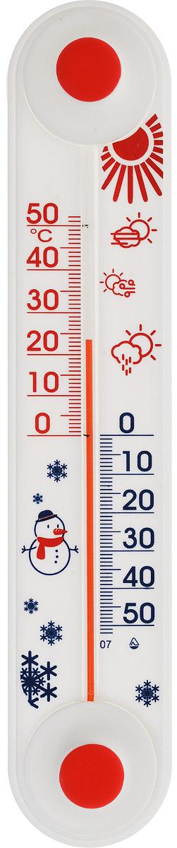 Термометр оконный Стеклоприбор. ТБ-3М1 исп.11300166Термометр оконный Стеклоприбор применяется для измерения температуры воздуха на улице. Корпус термометра выполнен из пластика, а колба изготовлена из ударопрочного стекла. Не содержит ртути. Это измеритель, у которого есть ряд очень важных для пользователя преимуществ: - Шкала, градуированная от -50 до +50°С, - такой диапазон позволяет зафиксировать любую возможную температуру для стран с умеренным климатом. - Наглядность - благодаря нанесенным крупным цифрам очень хорошо видно, сколько градусов показывает прибор. - Классическая простота эксплуатации - термометр нужно просто повесить за окном на липучку, прижав к стеклу. После можно будет подходить в любой момент и смотреть, какая температура на улице.
