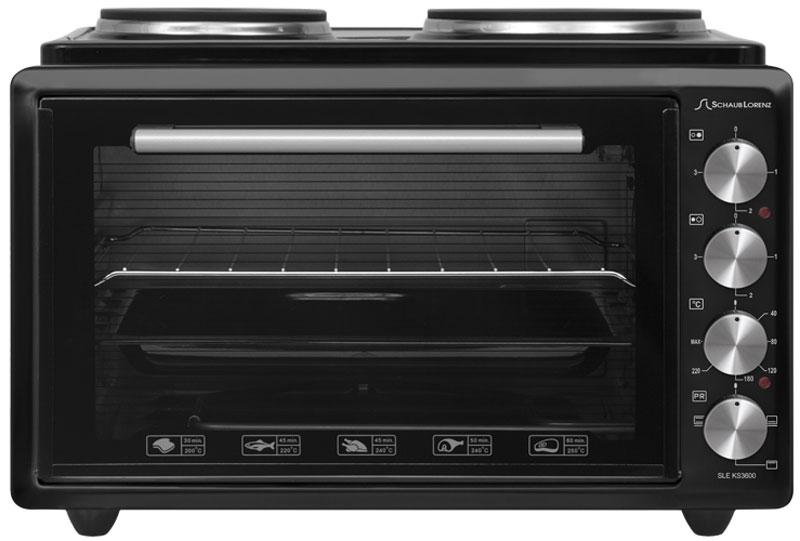 Schaub Lorenz SLE KS3600, Black мини-печьSLE KS3600Мини-печь Schaub Lorenz SLE KS3600 может служить отличной заменой полноразмерной кухонной плите. Объем духовки составляет 36 л, этого объема хватает для разнообразной выпечки, запекания мяса и птицы, приготовления горячих бутербродов. Благодаря сочетанию работы верхнего и нижнего нагревательных элементов распределение тепла и приготовление происходит максимально равномерно. Также печь оснащена двумя электрическими чугунными конфорками мощностью 1500 и 1000 Вт. Таким образом, максимальная мощность печи составляет 2500 Вт. Данная модель обладает удобным и надежным управлением при помощи четырех поворотных регуляторов. Есть возможность установки таймера. В комплекте с мини-печью поставляется все необходимое для повседневного приготовления: стандартный противень с антипригарным покрытием и хромированная решетка.