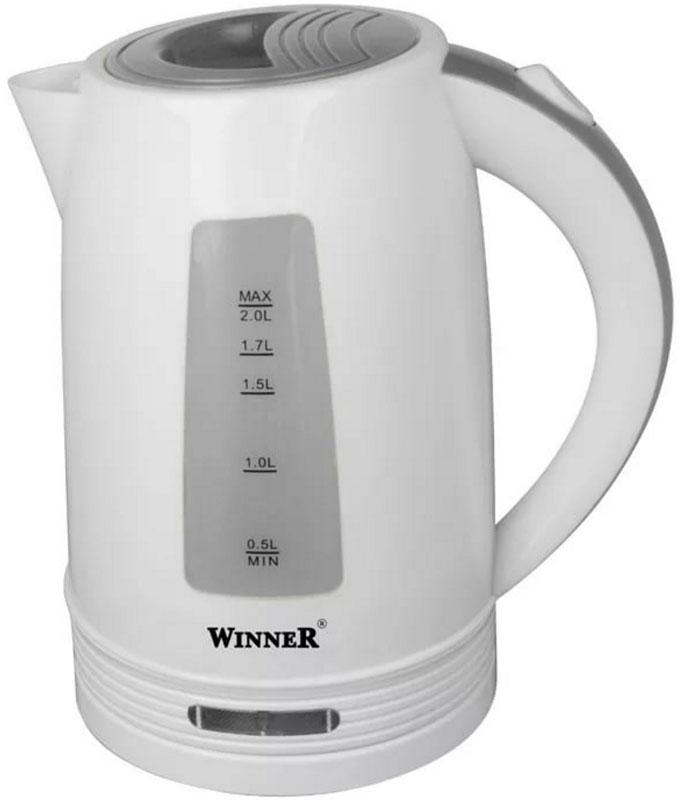 Winner Electronics WR-119 электрический чайникWR-119В чайнике Winner Electronics WR-119 гармонично сочетаются отличные эксплуатационные характеристики и эргономичный дизайн. Нагревательный элемент из нержавеющей стали обеспечивает быстрое закипание воды. Для максимального комфорта в данной модели предусмотрена индикация включения, а также прозрачная шкала уровня воды. Кроме того, устройство оснащено удобной кнопкой для открывания и закрывания крышки. Противоскользящее покрытие гарантирует устойчивость.