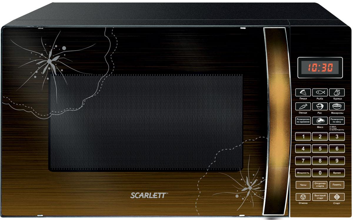 Scarlett SC-MW9020S01D, Hazelnut СВЧ-печьSC-MW9020S01DМикроволновая печь Scarlett SC-MW9020S01D предназначена для быстрого приготовления или подогрева пищи, а также для размораживания продуктов. Оснащена девятью автоматическими программами, функциями быстрой разморозки и разморозки по весу. Данная модель имеет удобное электронное управление для максимально комфортной эксплуатации, а также шесть режимов тепловой обработки и таймер до 99 минут со звуковым сигналом. Максимальная потребляемая мощность: 1200 Вт Широкое смотровое окно Цифровой дисплей Вращающееся стеклянное блюдо диаметром 245 мм Кнопка открытия дверцы Жаропрочное покрытие