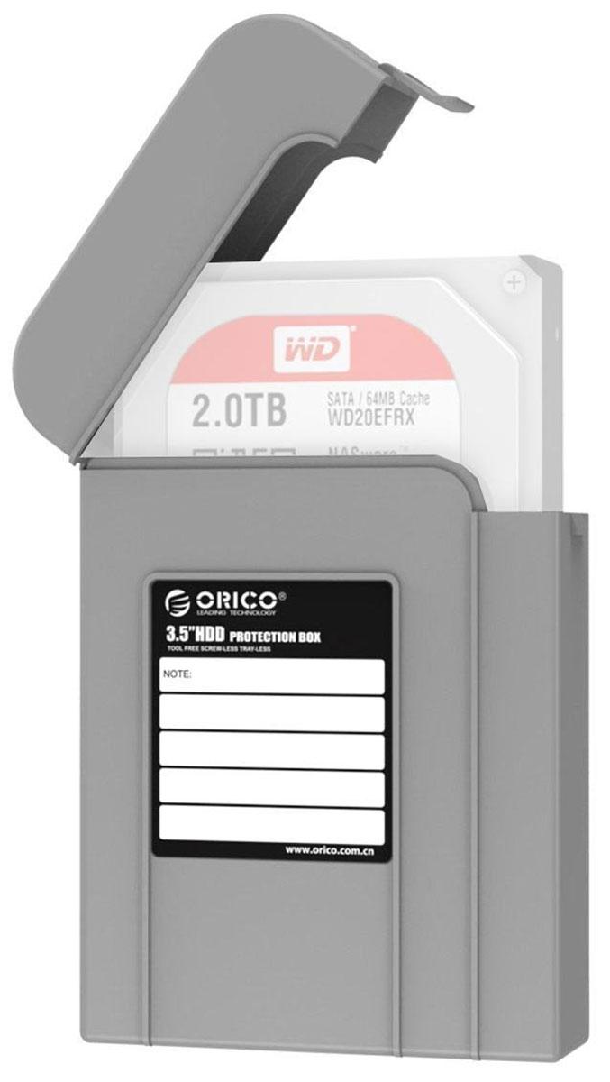 Orico PHI-35, Gray чехол для жесткого дискаORICO PHI-35-GYКейс Orico PHI-35 надежно защитит жесткий диск от пыли, влаги и прочих капризов окружающей среды. Благодаря дополнительным ребрам жесткости и крышке с защелкой, жесткий диск будет надежно защищен от падений и не выпадет из кейса при ударе. С помощью специальной этикетки можно легко и просто пометить кейс с жестким диском.