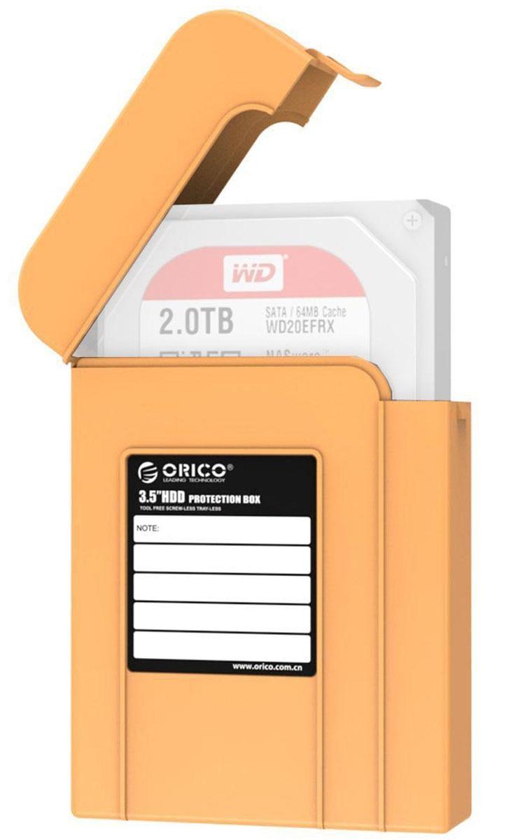 Orico PHI-35, Orange чехол для жесткого дискаORICO PHI-35-ORКейс Orico PHI-35 надежно защитит жесткий диск от пыли, влаги и прочих капризов окружающей среды. Благодаря дополнительным ребрам жесткости и крышке с защелкой, жесткий диск будет надежно защищен от падений и не выпадет из кейса при ударе. С помощью специальной этикетки можно легко и просто сделать пометки на кейсе.