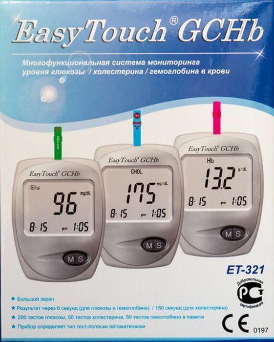 Анализатор глюкозы, холестерина и гемоглобина EasyTouch GCHb791Описание: Многофункциональная система мониторинга ИзиТач / Easy Touch GCHb Для самостоятельного контроля содержания глюкозы/холестерина/гемоглобина в крови. Многофункциональная система мониторинга предназначена только для диагностики in vitro (только для наружного применения). Система предназначена для работников здравоохранения и людей, страдающих диабетом, гиперхолестеринемией или анемией, для количественного измерения содержания глюкозы, холестерина и гемоглобина в свежей капиллярной цельной крови из кончика пальца. Частый контроль содержания в крови глюкозы, холестерина, гемоглобина - дополнительная забота о людях, страдающих диабетом, гиперхолестеринемией и анемией. Просто нанесите каплю крови на тест-полоску, и результат содержания глюкозы будет отображен на экране спустя 6 секунд, холестерина спустя 150 секунд и гемоглобина спустя 6 секунд. Многофункциональная система EasyTouch GCHb подходит для самоконтроля при диабете, гиперхолестеринемии или анемии в...
