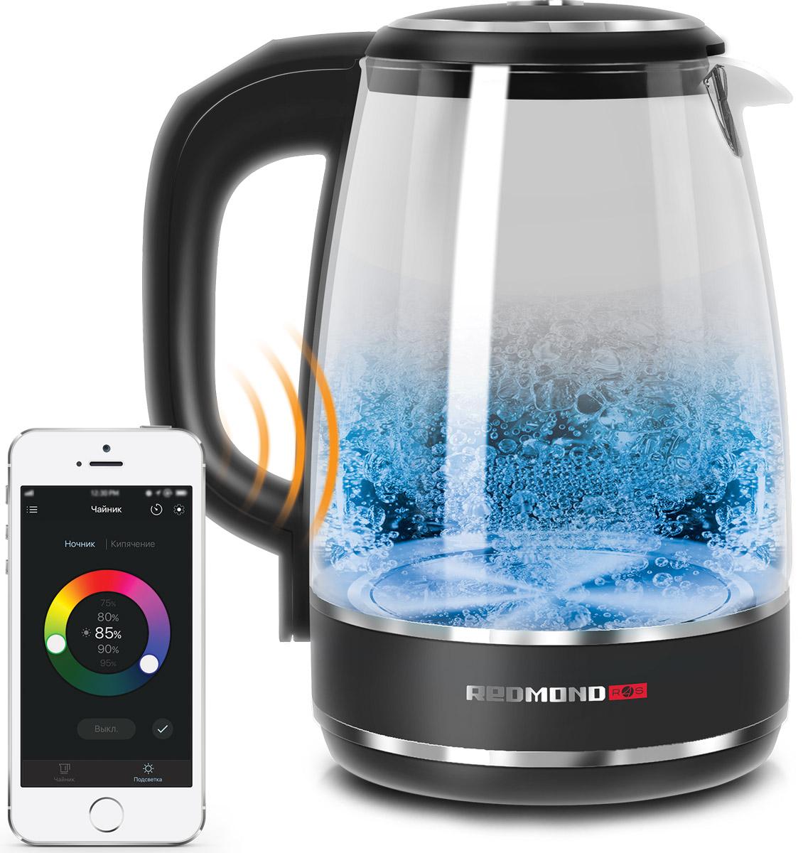 Redmond SkyKettle RK-G200S умный электрический чайникRK-G200SУмный световой чайник Redmond SkyKettle G200S – современный чайник с оригинальным свечением и дистанционным управлением со смартфона. Через приложение Ready for Sky в smart-чайнике можно подогреть воду до нужной температуры, а также настроить любой цвет подсветки и сделать так, чтобы стеклянный корпус и вода в нем переливались как в калейдоскопе или на танцплощадке – всеми цветами радуги! Одним касанием экрана смартфона можно включить подсветку умного чайника SkyKettle G200S, выбрав любой цвет и при желании настроив его яркость. В приложении можно задать также скорость перехода свечения от одного цвета к другому, чтобы через заданные вами промежутки времени (от 30 секунд до 3 минут) цветовая гамма подсветки красиво менялась, создавая эффект светомузыки. Подсветка умного чайника может изменяться в процессе нагрева воды – достаточно внести соответствующую настройку через приложение. А хотите, чтобы умный чайник красиво светился в темное время суток...