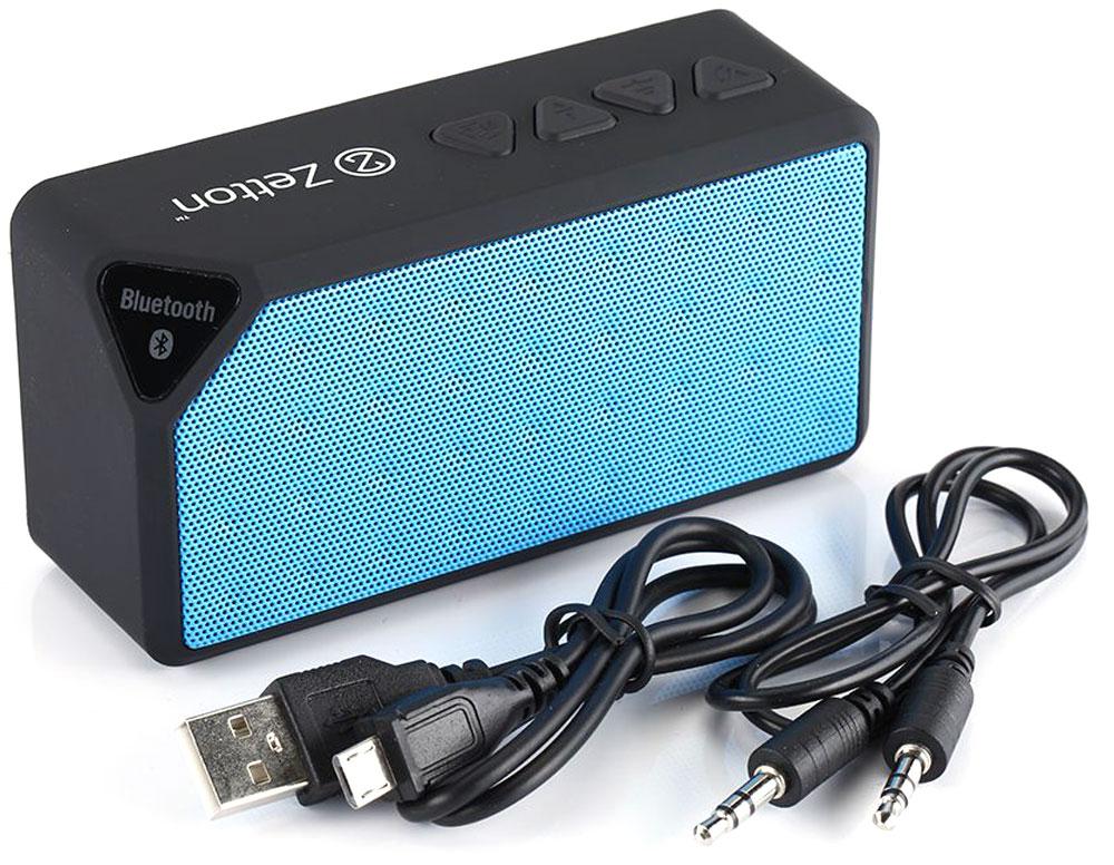 Zetton Parallelepiped, Black Blue портативная Bluetooth-колонка (ZTLSBSPARBB)ZTLSBSPARBBБеспроводная колонка Zetton Parallelepiped позволит вам слушать музыку со смартфона, планшета и любого аудиоустройства, поддерживающего связь через Bluetooth. Zetton гарантирует чистый звук и безупречное воспроизведение. Небольшие размеры и встроенный аккумулятор дают возможность использовать колонки в мобильном режиме, в любом месте, где нет электричества на протяжении до 6 часов. Скромный с виду динамик обеспечивает вполне серьезную громкость и с легкостью озвучит небольшое помещение или место пикника, отдыха. Для подключения используется Bluetooth или стандартный аудиоразъем 3.5 мм. Встроенный аккумулятор: 650 мАч, 1-2 часа время зарядки Длина USB шнура: 0,5 м