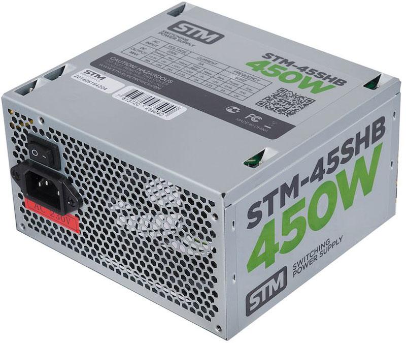STM 45SHB блок питания для игрового компьютера1000205626Блок питания STM 45SHB обеспечит бесперебойную работу вашего компьютера. Он изготовлен с применением высококачественных материалов. Высокая производительность делает этот источник питания отличным выбором при сборке ПК. Выполненный из прочного металла, блок питания STM 45SHB оснащен мощным вентилятором для охлаждения. Его диаметр составляет 120 мм. Данный вентилятор обеспечивает превосходное охлаждения блока питания и отличается фактически полным отсутствием шума во время своей работы.