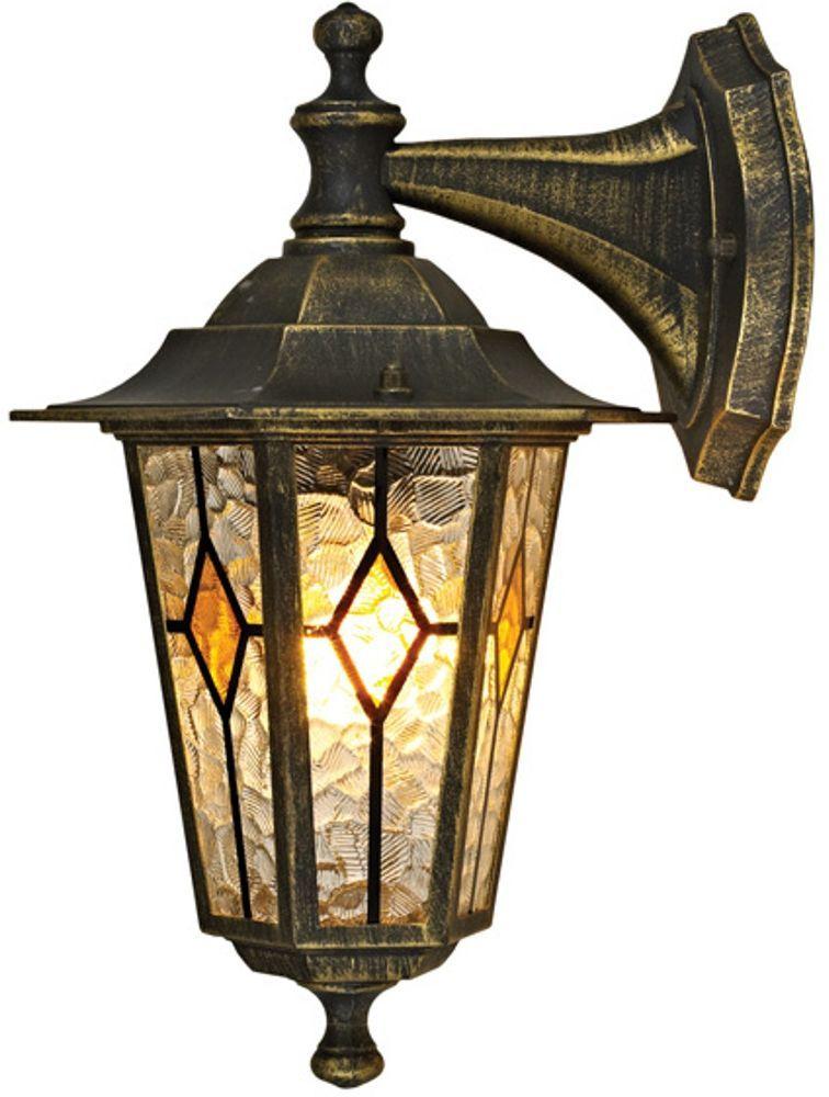 Светильник уличный Duwi Geneva, цвет: черное золото, 306 мм. 24163 824163 8Бра вниз - настенный светильник для улицы - один из двух светильников серии эконом-класса Женева, выполненных в черном цвете с золотым напылением. Особый шарм светильникам придают оригинальные витражные стекла.