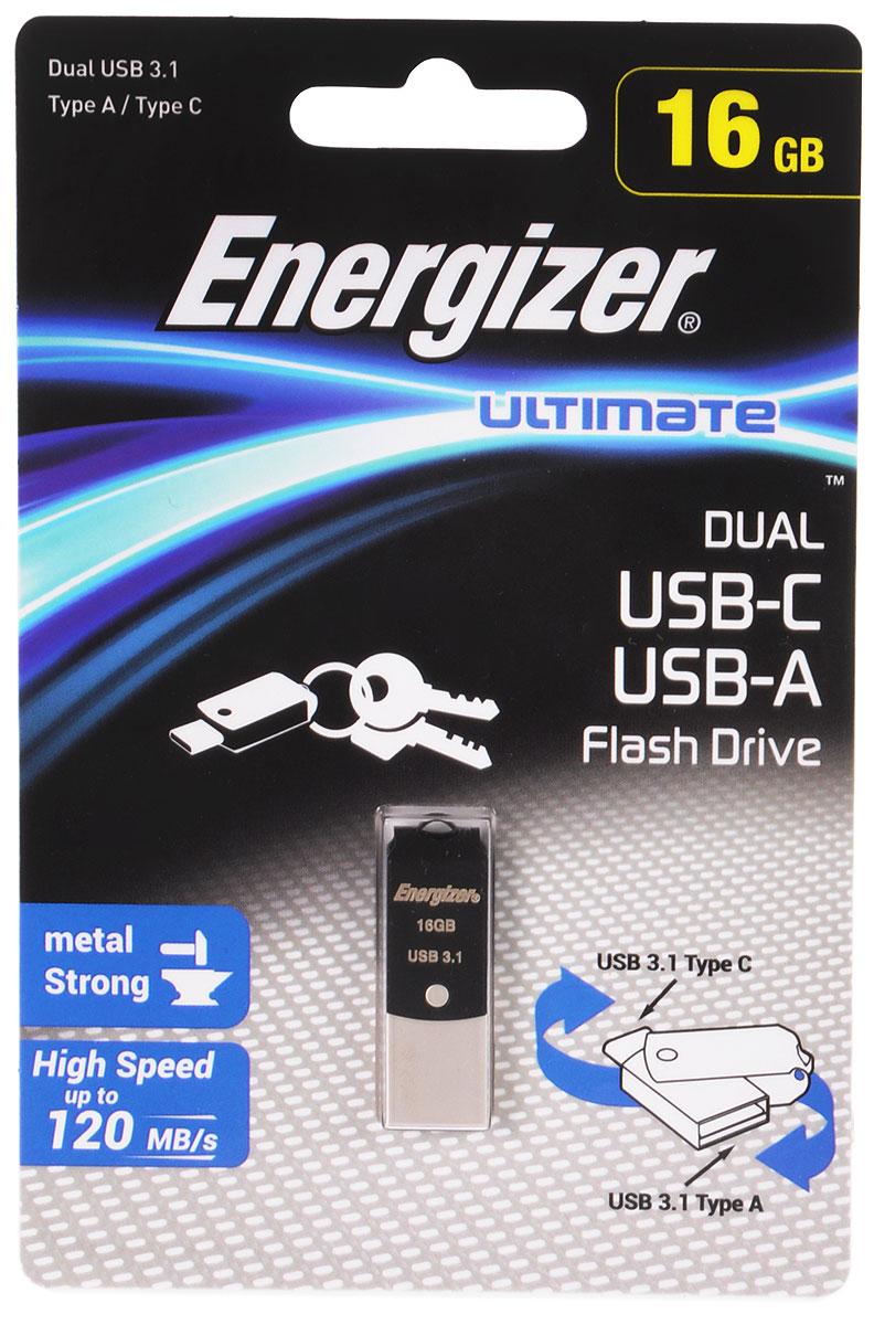 Energizer Ultimate Dual 16GB флэш-накопительFOTUCUO16RДвухсторонний флэш-накопитель Energizer Ultimate Dual идеально подходит для быстрого и удобного переноса фильмов, фотографий, музыки и файлов со смартфона с разъемом USB Тип C на персональный компьютер. Кабель или беспроводное соединение не требуются.