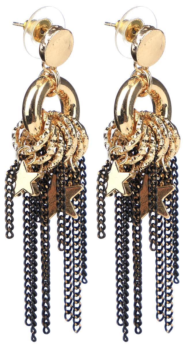 Серьги Taya, цвет: золотистый. T-B-12045-EARR-GOLDT-B-12045-EARR-GOLDСерьги-гвоздики с металлической заглушкой изготовлены из бижутерного сплава. Сложное украшение выполнено из цепочек, звездочек, колечек. Свисающие цепи хорошо гармонируют с общей цветовой гаммой.