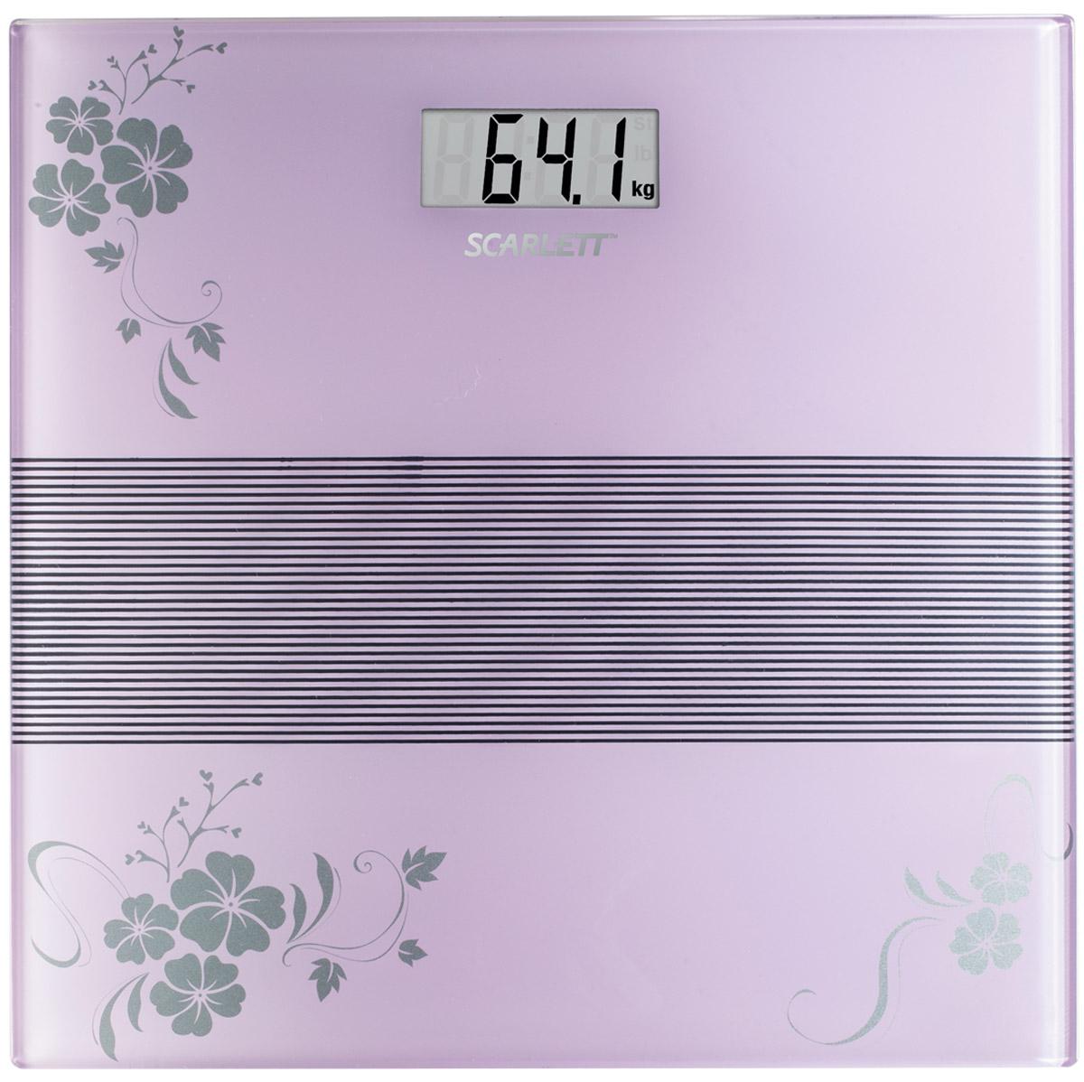 Scarlett SC-BS33E060, Violet весы напольные электронныеSC-BS33E060Напольные весы Scarlett SC-BS33E060 изготовлены из ударопрочного стекла и оформлены в сдержанном стиле. Весы имеют стандартную точность измерения, равную 100 грамм. Устройство измеряет массу тела в килограммах и работает от батарейки типа CR2032 (1 шт). Электронный дисплей отображает большие цифры, которые можно будет увидеть с высоты человеческого роста. Также данная модель имеет прорезиненные ножки, для большей устойчивости.