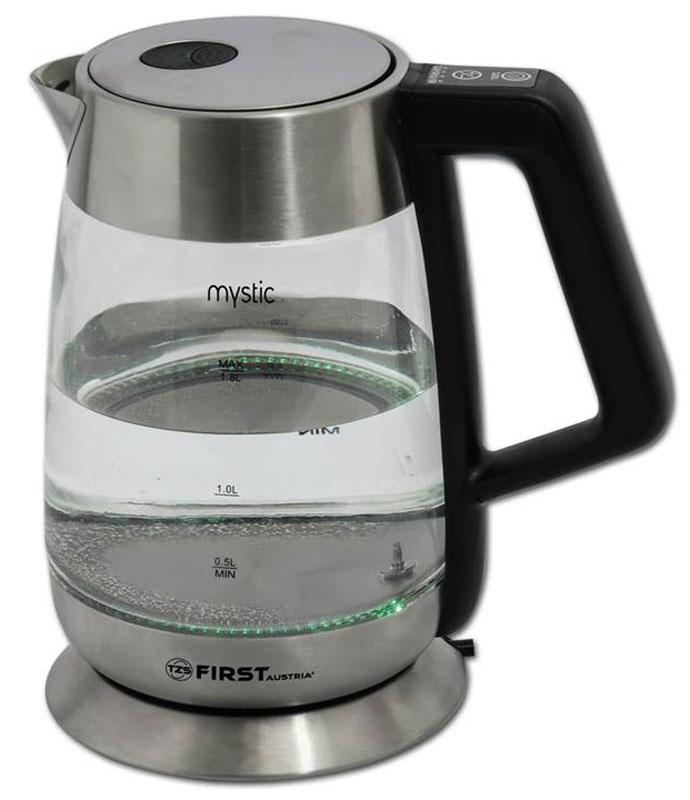 First FA-5406-7, Black чайник электрическийFA-5406-7 BlackЧайник First FA-5406-7 Black, стеклянный Емкость: 1.7 л. Мощность: 2200 Вт