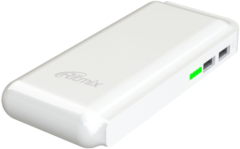 Ritmix RPB-10001L, White внешний аккумулятор (10000 мАч)15118760Power bank Li-Ion, узкий - 6,4см, емкость 10 000 мАч выход 2xUSB 5В 2,1А, фонарик + световой индикатор заряда, размер 145х65х22, цвет: белый, поверхность под кожу