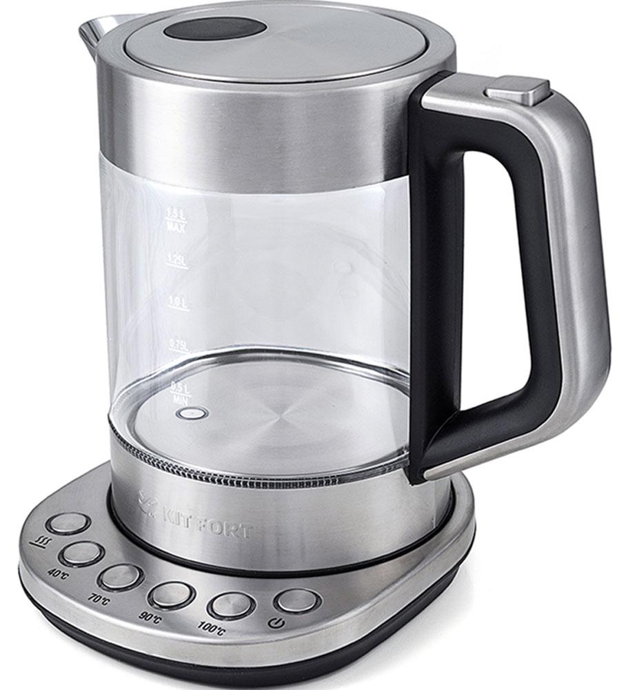 Kitfort КТ-616 чайник электрическийКТ-616Электрический чайник с терморегулятором Kitfort КТ-616 может не только вскипятить воду, но и нагреть ее до температуры 40, 70 и 90°С, что очень удобно при заваривании различных сортов чая. Температура 40 °С пригодится для приготовления детского питания. Чайник также оснащен функцией поддержания температуры. Температура воды контролируется встроенным в дно чайника термодатчиком. Корпус чайника Kitfort КТ-616 выполнен из стекла, а крышка и подставка — из сочетания пластмассы и нержавеющей стали. Ручка чайника пластиковая, не нагревается и удобно лежит в руке. Нагревательный элемент (ТЭН) у этой модели чайника скрытый и находится в дне. Сверху он закрыт специальной металлической пластиной из нержавеющей стали, благодаря которой исключается прямой контакт ТЭНа с водой. Такая конструкция препятствует образованию накипи, облегчает уход и значительно снижает шум при нагревании воды. Чайник автоматически отключается при закипании и при снятии его...