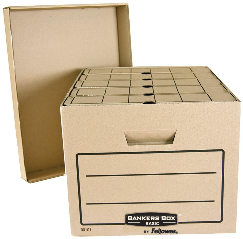 Fellowes Bankers Box Basic архивный коробFS-00101Архивный короб Bankers Box Basics FS-00101 обеспечивает компактное хранение и эргономичную организацию рабочего пространства. Отличается высокой прочностью и амортизационными качествами. Удобная сборка. Усиленные ручки для переноски. Поля для надписей с двух сторон короба.